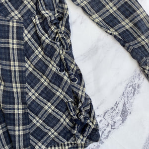 Free People navy and cream plaid button up tunic - My Girlfriend's Wardrobe York Pa