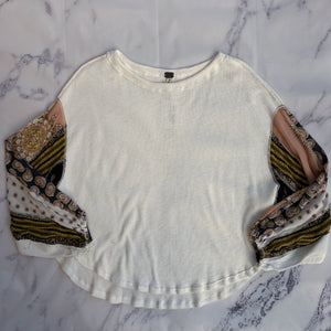 We the Free white thermal dolman bubble sleeve top