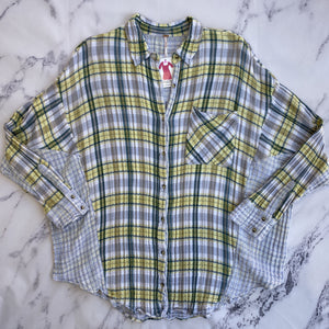 Free People green, yellow, and blue plaid button up