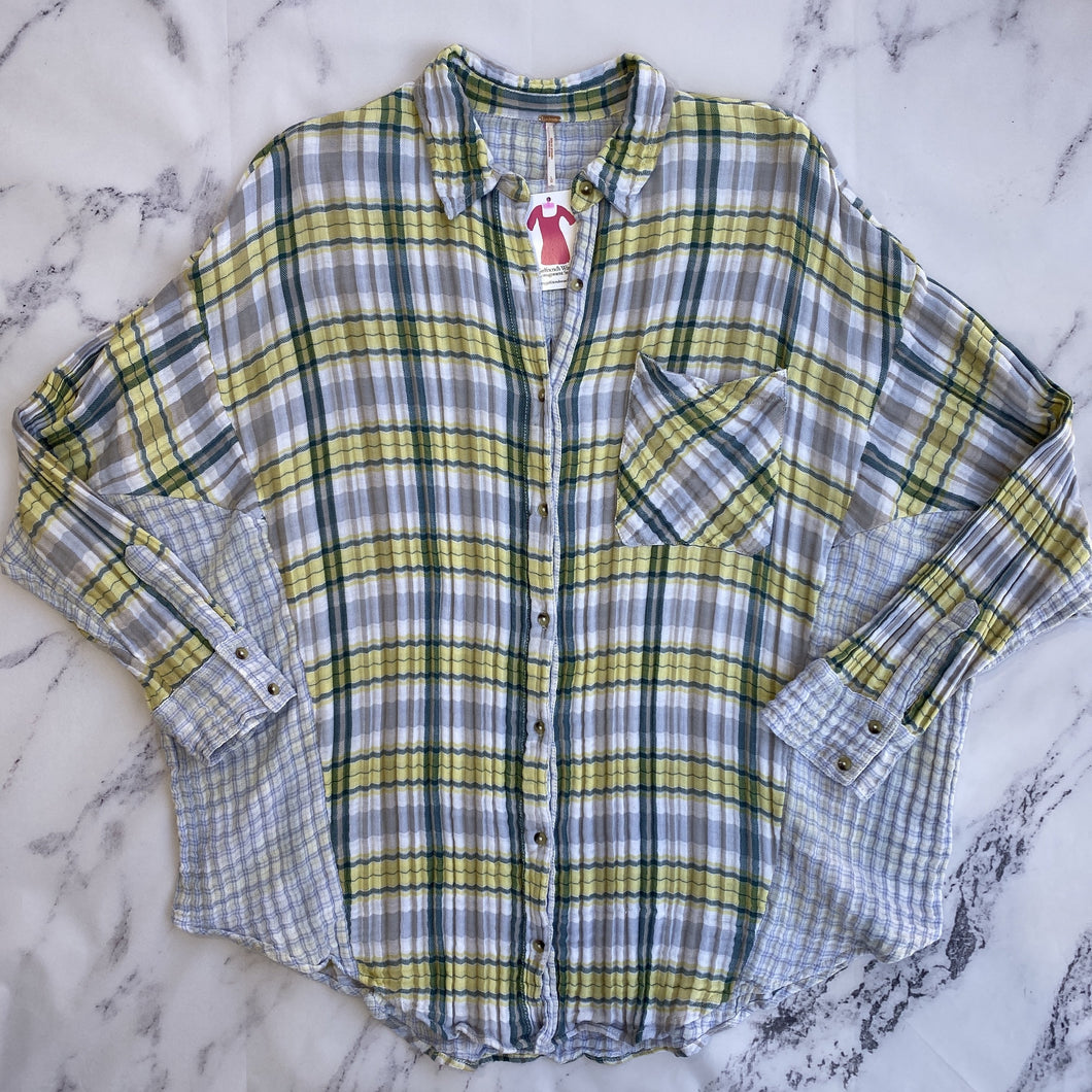 Free People green, yellow, and blue plaid button up - My Girlfriend's Wardrobe York Pa