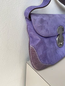 Ralph Lauren Ricky purple suede/lizard shoulder bag