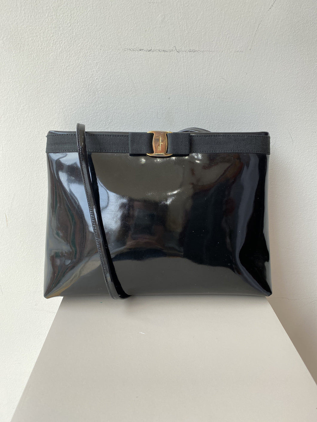 Salvatore Ferragamo black patent Vera bag