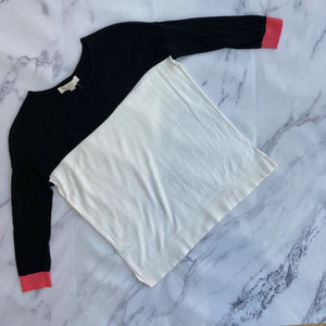 Loft white, black, and pink sweater
