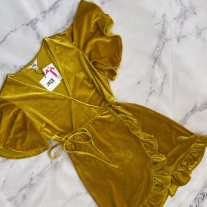 Jack by BB Dakota mustard yellow velour dress NWT - My Girlfriend's Wardrobe York Pa
