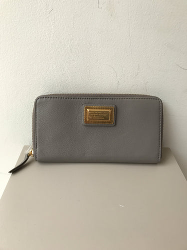 Marc by Marc Jacobs gray leather zip around wallet NWT - My Girlfriend's Wardrobe York Pa