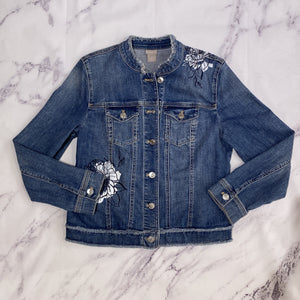 Chico's denim floral jacket size small