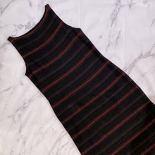 Lauren Ralph Lauren black, brown, orange striped dress size L