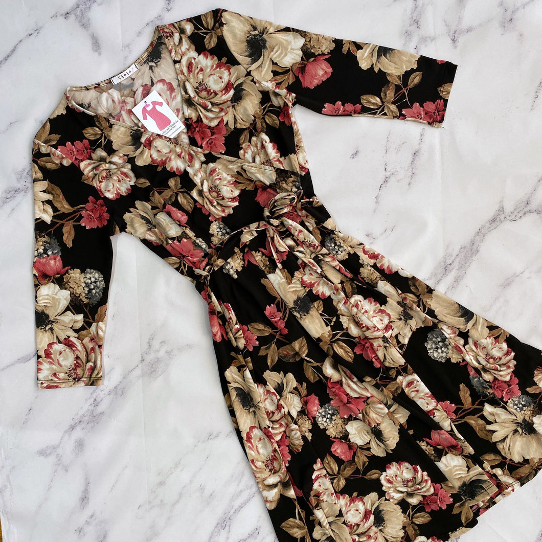 Viola black, tan, and pink floral dress NWOT - My Girlfriend's Wardrobe York Pa