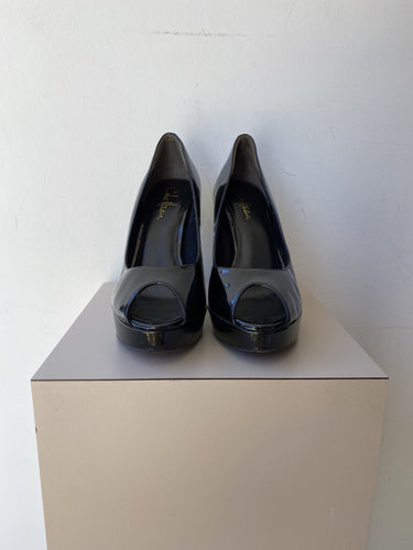 Cole Haan black patent peep toe pumps size 8
