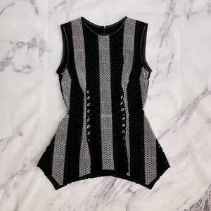 Yigal Azrouel black and white eyelet tank top size 0