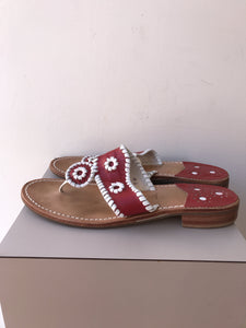 Jack Rogers red white leather flip flops size 9 - My Girlfriend's Wardrobe York Pa