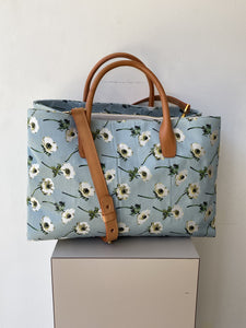 Mansur Gavriel floral silk and leather tote - My Girlfriend's Wardrobe York Pa