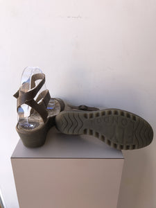 Fly London taupe leather sandals size 38 - My Girlfriend's Wardrobe York Pa