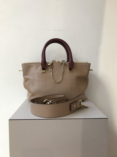 Chloe tan and burgundy leather Bailey bag - My Girlfriend's Wardrobe York Pa