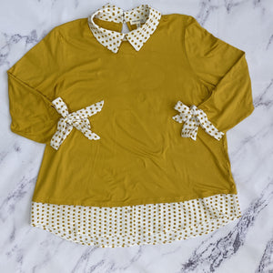 Faith & Joy mustard yellow top - My Girlfriend's Wardrobe York Pa