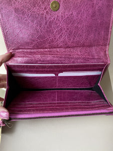 Balenciaga violet leather city wallet AS IS