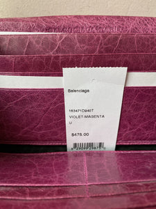 Balenciaga violet leather city wallet AS IS - My Girlfriend's Wardrobe York Pa
