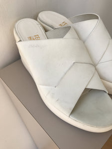 Salvatore Ferragamo white leather wedges size 8.5 - My Girlfriend's Wardrobe York Pa