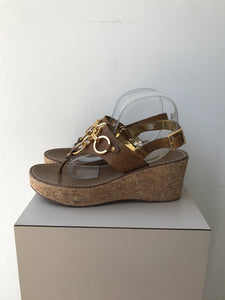 Tory Burch brown leather wedges size 7.5 - My Girlfriend's Wardrobe York Pa