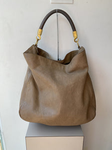 YSL taupe leather Roady hobo bag - My Girlfriend's Wardrobe York Pa