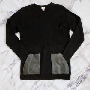 J.Crew black sweater with faux leather pockets - My Girlfriend's Wardrobe York Pa