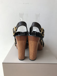 Tory Burch brown leather heeled sandals size 8 - My Girlfriend's Wardrobe York Pa