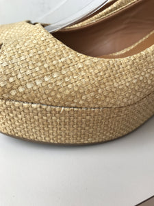 Tory Burch tan raffia like wedges size 8.5 - My Girlfriend's Wardrobe York Pa