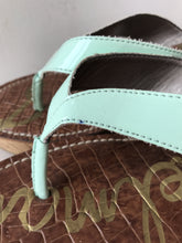 Sam Edelman mint patent leather wedge flip flops size 11 - My Girlfriend's Wardrobe York Pa