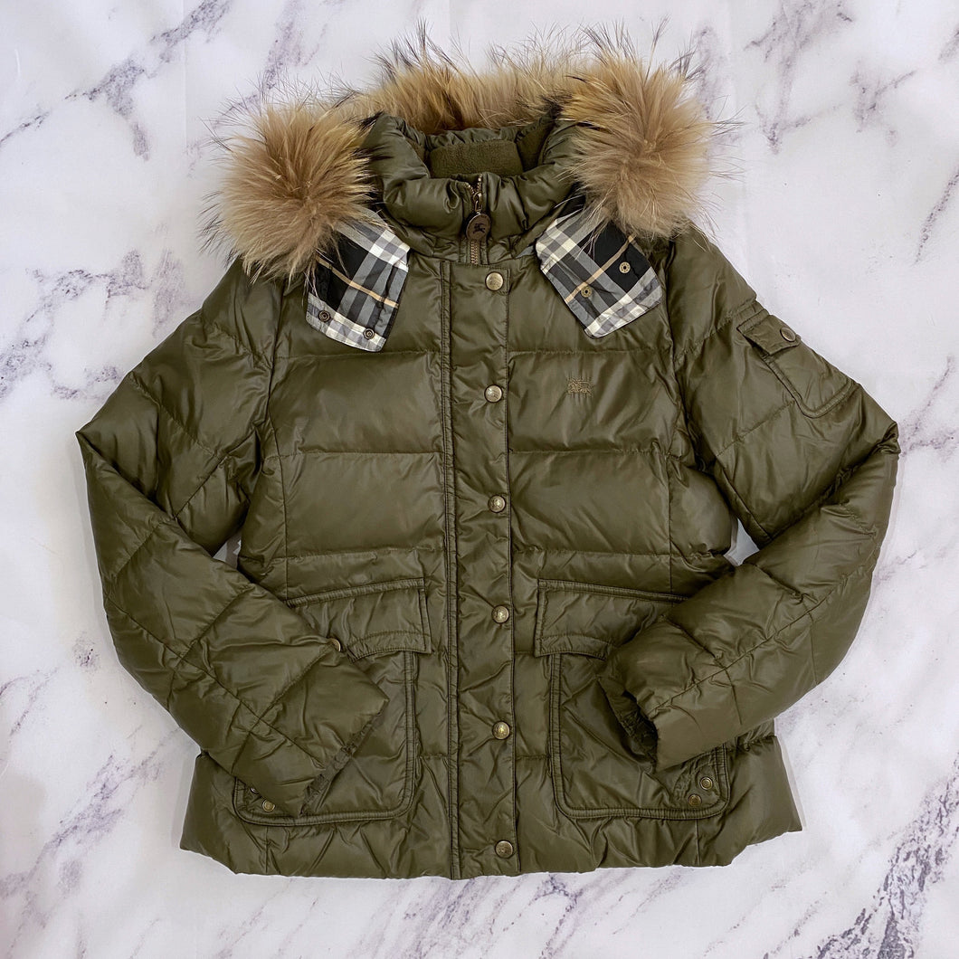 Burberry Blue Label olive puffer jacket - My Girlfriend's Wardrobe York Pa