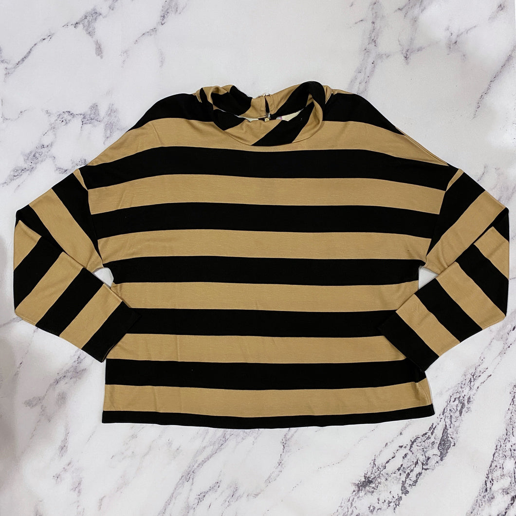 Chico's tan and black striped top