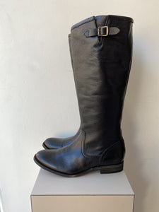 Frye black leather full zip boots size 8.5 NEW - My Girlfriend's Wardrobe York Pa