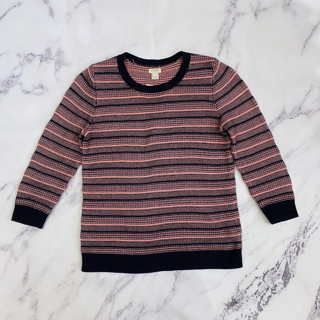 J.Crew navy and pink sweater