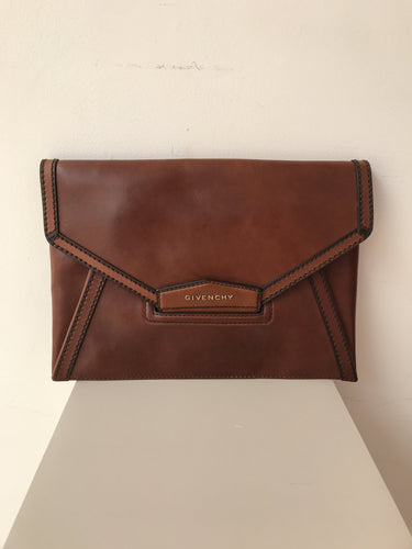 Givenchy Antigona brown cowhide envelope clutch NWT - My Girlfriend's Wardrobe York Pa