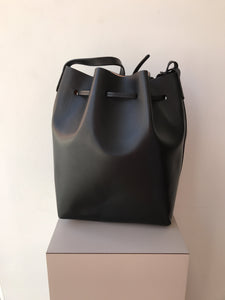 Mansur Gavriel calf leather black bucket bag retail $695 - My Girlfriend's Wardrobe York Pa