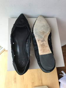 Tory Burch black suede Leyla flats size 8 - My Girlfriend's Wardrobe York Pa