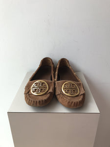 Tory Burch Alexandra brown suede moccasins size 8 - My Girlfriend's Wardrobe York Pa