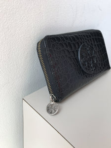 Tory Burch black leather croc embossed wallet - My Girlfriend's Wardrobe York Pa