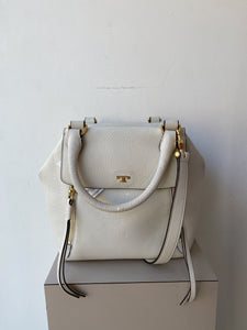 Tory Burch white leather half moon satchel