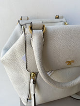 Tory Burch white leather half moon satchel - My Girlfriend's Wardrobe York Pa
