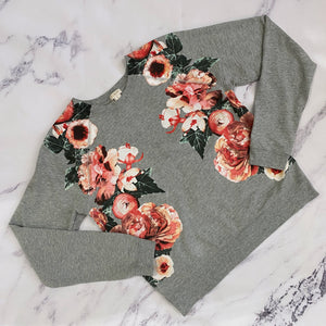 J.Crew gray and pink floral sweatshirt - My Girlfriend's Wardrobe York Pa