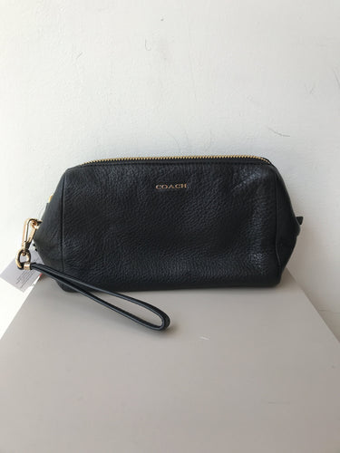 Coach black leather zip pouch/wristlet NWT - My Girlfriend's Wardrobe York Pa