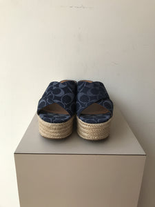 Coach blue denim signature espadrille platform sandals size 7 - My Girlfriend's Wardrobe York Pa