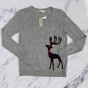 Loft gray and purple reindeer sweater NWT