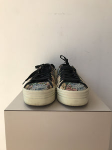 Saint Laurent platform tapestry sneakers size 7.5 retail $550 - My Girlfriend's Wardrobe York Pa