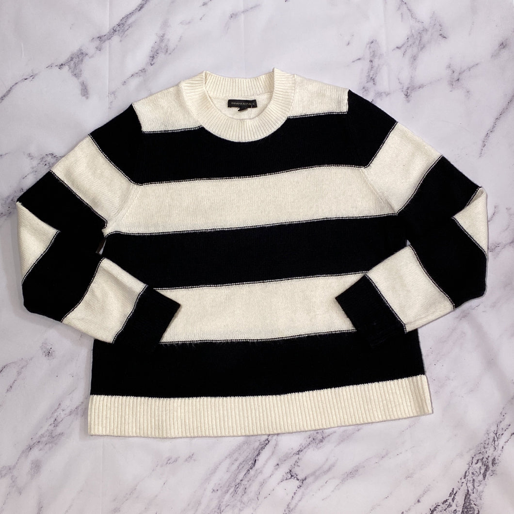 Banana Republic cream and black striped sweater size XL - My Girlfriend's Wardrobe LLC