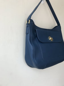 Tory Burch blue leather Mercer slouchy hobo shoulder bag NWT - My Girlfriend's Wardrobe York Pa