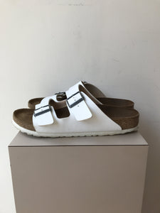 Birkenstock white leather 2 strap sandals size 10 - My Girlfriend's Wardrobe York Pa