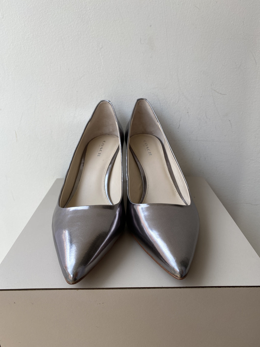 Coach silver metallic leather pumps size 8.5 - My Girlfriend's Wardrobe York Pa
