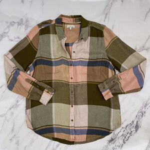 Lucky Brand olive, pink, blue check button up - My Girlfriend's Wardrobe York Pa