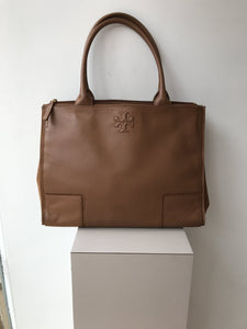 Tory Burch brown leather and cloth tote - My Girlfriend's Wardrobe York Pa
